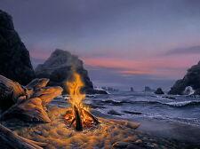 Beach Bonfire by Stephen Lyman s/n print of Pacific coast w/ large rocks exposed