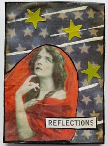 """""""REFLECTIONS"""" mixed media vintage COLLAGE  altered art card WOMAN aceo LADY"""