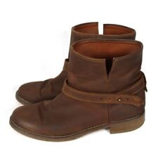 Madewell Brown Oiled Leather Short Biker Boots Size 9M