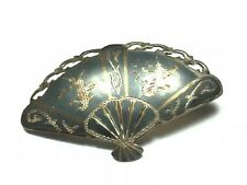 SIAM .925 Sterling Silver Vintage Fan Blade Style Pin / Brooch - Patina! FREE SH