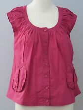 COSTA BLANCA Size M Pink Cap Sleeve Round Neck Front Button Down Closure Blouse