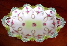 "MZ Austria Rare Serving Bowl Pink Roses Hand Painted Antique 14 1/2"" c1800s Bowl"