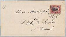 ITALIA REGNO: storia postale - Sassone 34 sovrastampa spostata su BUSTA 1878