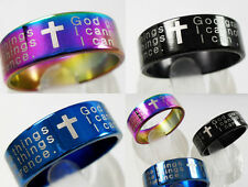 100pcs Serenity Prayer Stainless Steel Cross Ring Wholesale god grant me jewelry