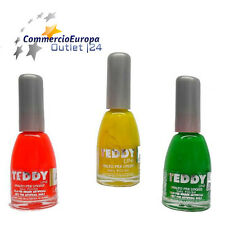 SET 3 SMALTI COLORATI FLUO' DECORAZIONI UNGHIE NAIL POLISH TEDDY