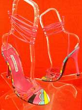 NEW CHARLES DAVID MULTICOLOR LEATHER ANKLE STRAPS HEEL SANDALS 6.5 SPAIN