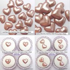 Red Pink Rose Gold Silver White Sugar Hearts wedding cake cupcake decorations