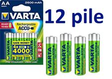12 Batterie AA STILO Ricaricabili VARTA 2600 mAh HR6 flash Joystick 2600mAh NiMH