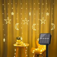 Solar LED Fairy String Window Curtain Light Twinkle Star Moon Wedding Home Decor
