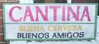 LARGE CANTINA CERVEZA & AMIGOS WOOD BAR  SIGN Mexican Beer Friends Wood Sign