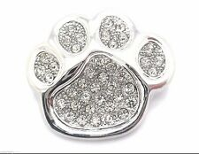 """Dog Puppy Paw Crystal Brooch Women Pin 1"""" Groomer Silver Plated New"""