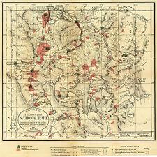 1881 Map Yellowstone National Park Wyoming Wall Art Poster Print History Decor