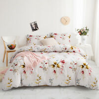 Modern Floral Print Duvet Quilt Cover Bedding Set + Pillow Case Twin Queen King