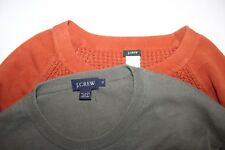 Lot of 2~Men's Size XL~100% Cotton~Crewneck~Sweaters~Solid Orange~Solid Green~~~