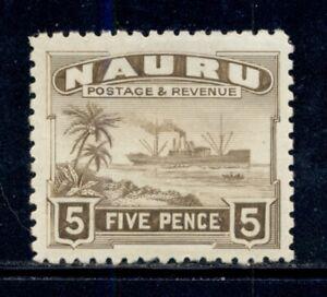 NAURU SG33B MH 1937-48 5p brn Freighter shiny surfaced Cat$10