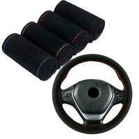 DIY Auto Car Steering Wheel Microfiber Suede Cover 38cm Accessories Hand Se D4I3