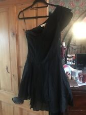 KATE MOSS AT TOPSHOP Black One Sholder Party Dress Size 10