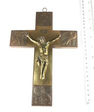 Crucifix Jesus Cross Wall Decor Vintage Brass Metal Ornate Catholic Art