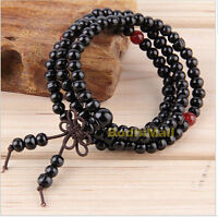 Buddhist Buddha Meditation Wood Prayer 6mm 108 Beads Mala Bracelet - Black