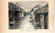 Stampa antica HANOI una via della città VIETNAM 1910 Old print