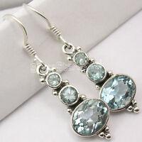 """925 Silver BLUE TOPAZ WONDERFUL Dangle Earrings 1.5"""""""