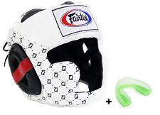 Fairtex White HG10 Head Guard Muay Thai Boxing Sparring Head Gear w/ Mouthguard