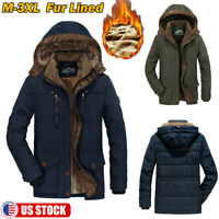 Plus Size Mens Thick Velvet Lined Hooded Coat Winter Warm Zip Up Hooded Jacket