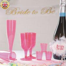 Pink Plastic Champagne Prosecco Flutes Glasses Wine Shot Glasses Hen Party