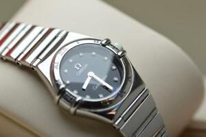 Ladies Omega Constellation 23mm Stainless Steel Wristwatch Diamond Bezel & Dial
