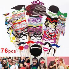 76 x Party Foto Verkleidung Schnurrbart Brille Photo Booth Props Set Hochzeit