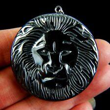 Charming Carved Lion's Head Hematite Pendant Bead B-TS9