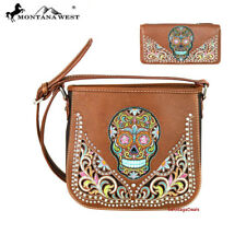 Montana West Sugar Skull Collection Crossbody Bag and Wallet Set Brown