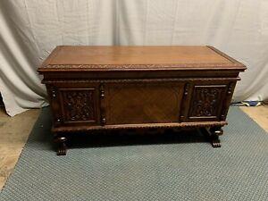 Antique Vintage ROOS Ornate Victorian Walnut Cedar Chest  Double Lid