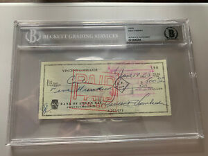 Vince Lombardi Autographed Signed 3x6 Check Green Bay Packers Beckett 0010845284