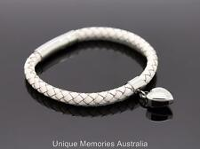 316L S/Steel & White Leather Cremation Memorial Keepsake Jewellery Urn Bracelet