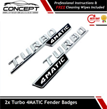 2x Chrome Turbo 4MATIC AMG For Mercedes  Fender Sides Letters Emblem Badge