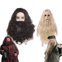 US Shipp HP Cosplay Wig Curly Wavy Long Hair With Beard Whiskers Halloween Wigs