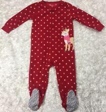 Girls CARTERS Reindeer Holiday Blanket Sleeper Sz 18 Month Red w White Polka Dot