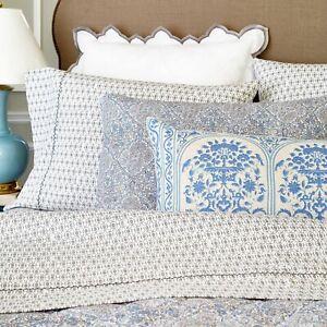 NEW RARE John Robshaw Kama Percale 2 Standard Pillowcases Set Gray Coffee Grain