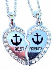 NEW Anchor Rhinestone Heart Best Friend 2 Pendants Necklace BFF Friendship