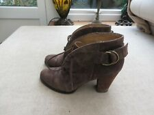 Jones quality brown suede leather shoe boots buckle detail quality block heel 39