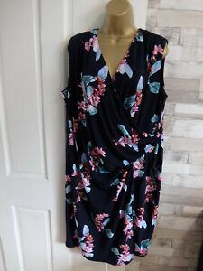 EVANS ● size plus 22 24 ● navy blue floral drape pencil dress womens ladies