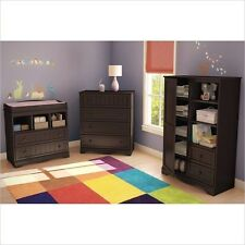 Modern Baby Furniture Sets Espresso Changing Table Dresser Nursery Armoire 3pc