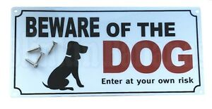 LARGE BEWARE OF THE DOG PET WARNING SAFETY DOOR GATE SHED GARDEN SIGN & SCREW UK