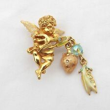 Kirks Folly Gardening Angel Brooch, Trowel & Hand Fork With Hanging Charms
