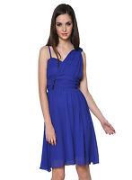 Royal Blue Chiffon One Shoulder Bridesmaid Wedding Dress Party Prom Evening Cute