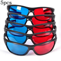 Frame Red Blue 3D Glasses For Dimensional Anaglyph Movie Game DVD Black  Ao