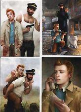 Carte Postale Tintin. Série 4 cartes Tintin pixels. Collection IMAGES DE TINTIN