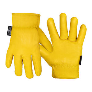 Men Gardening Work Gloves Yellow Leather Thorn Proof Thinsulate Fleece Lining