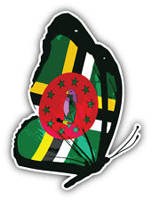 Dominica Flag Butterfly Car Bumper Sticker Decal 4'' x 5''